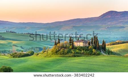 Beautiful landscape in Tuscany, Italy - stock photo
