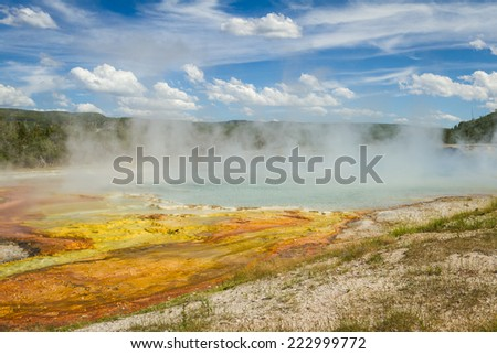 beautiful landscape in Yellowstone nations park with stemming geysers and vivid colors