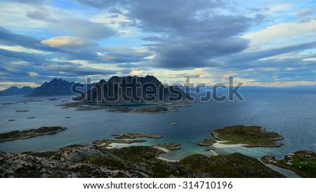 Beautiful landscape Lofoten Islands in Norway - stock photo