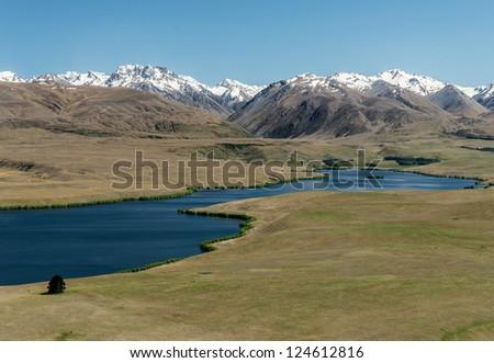 Beautiful landscape Mountains, and lake Alexandria , South island New Zealand - stock photo