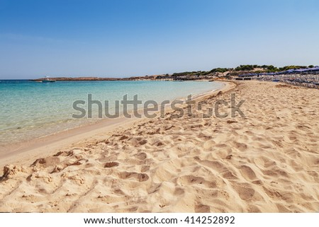 Beautiful landscape near of Nissi beach in Ayia Napa, Cyprus island, Mediterranean Sea. Amazing blue green sea and sunny day. - stock photo