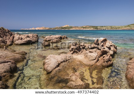 Beautiful landscape of a rock beach in Sardinia, Italy, Europe