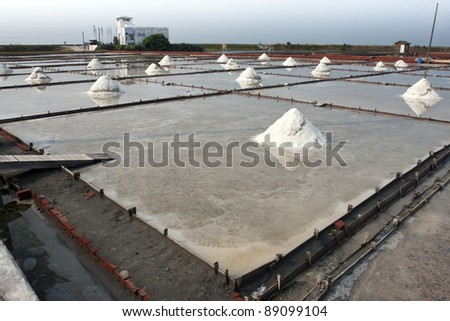 beautiful landscape of a summer with a salt farm in Tainan - stock photo