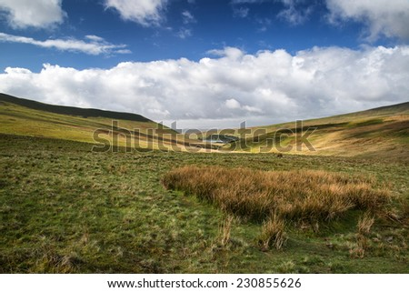 Beautiful landscape of Brecon Beacons National Park with dramatic sky - stock photo