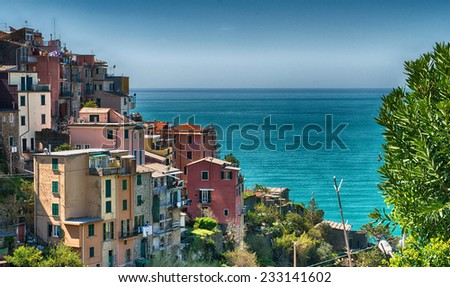 Beautiful landscape of Cinque Terre Mountains, Corniglia. - stock photo