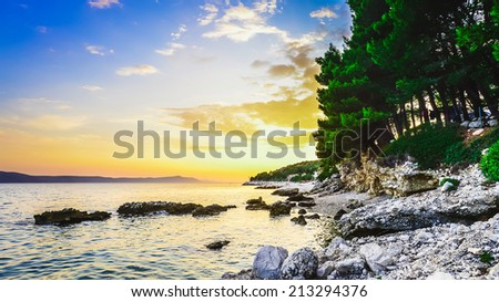 Beautiful landscape of Croatia sunset - stock photo