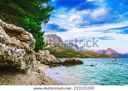 Beautiful landscape of Croatia with beach and mountains - stock photo