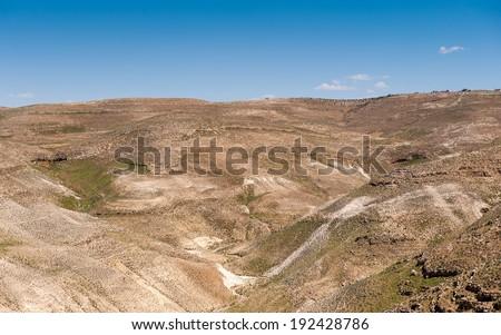 Beautiful landscape  of dunes in a desert - stock photo