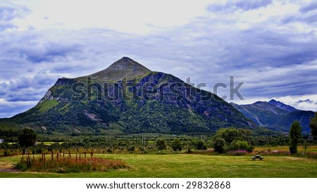 Beautiful landscape of empty campground and mountains