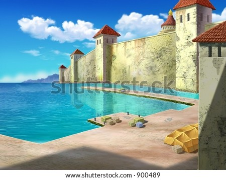 Beautiful Landscape of European Castle near River on a background of bright blue sky, white clouds and crystal clear water : vector illustration - stock photo