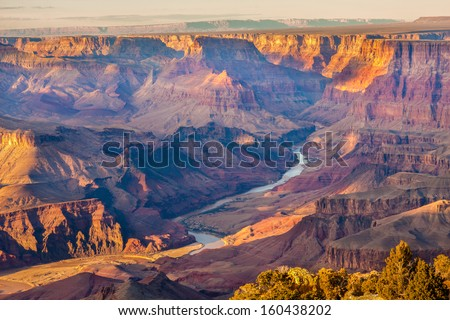 Beautiful Landscape of Grand Canyon from Desert View Point with the Colorado River visible. - stock photo