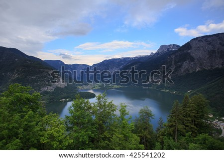 Beautiful landscape of Hallstatt town,Alps, Austria - stock photo