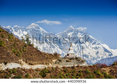 Beautiful landscape of Himalayas mountains with Tenzing Buddhist stupa. Everest Base Camp trek - stock photo