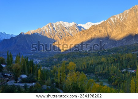 beautiful Landscape of Hunza Valley in Autumn season. Northern Area of Pakistan. - stock photo