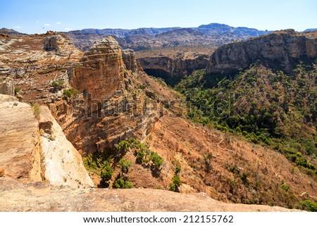 Beautiful landscape of Isalo national park in Madagascar - stock photo