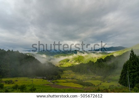 Beautiful Landscape Of Japanese High Mountain Countryside In The Morning With Fog Mist Among Mountains
