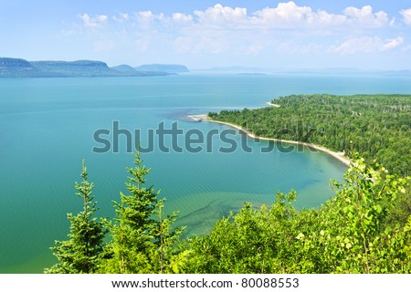 Beautiful landscape of Lake Superior northern shore from above in Ontario, Canada - stock photo