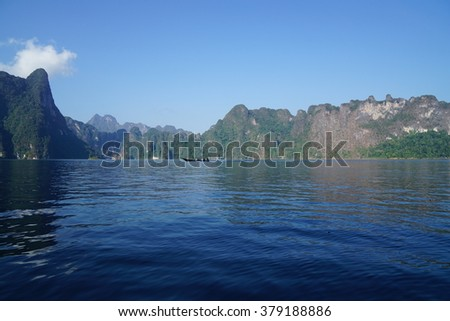 Beautiful  landscape  of  Lime mountains   and  deep  blue  water lake  best  places  for  relaxing.