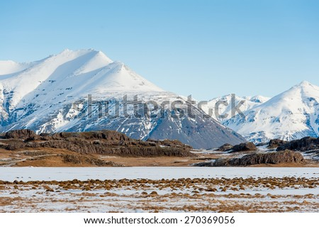 Beautiful landscape of  mountain and fjord at Iceland - stock photo
