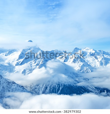 beautiful landscape of mountain Dombaj, Russia,  close up - stock photo