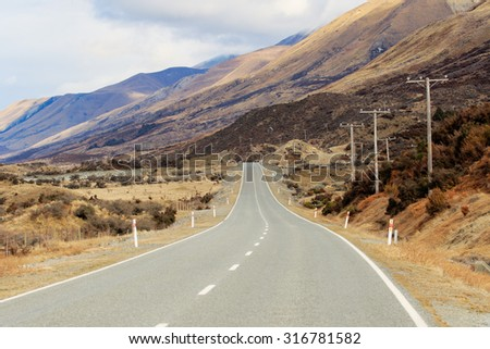 beautiful landscape of mountain highways in south island new zealand