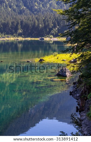 Beautiful landscape of mountains and lake on summertime, Gosausee lake, Alps, Austria, Europe. - stock photo