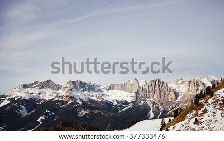 beautiful landscape of mountains with snow - stock photo