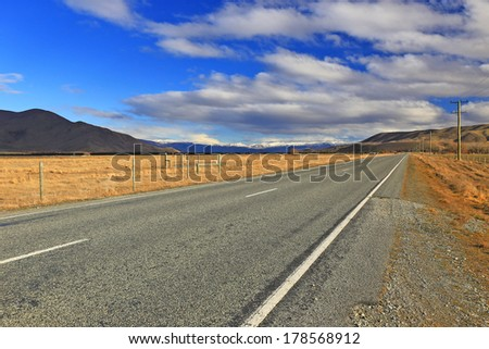 Beautiful landscape of road in South Island, New Zealand - stock photo