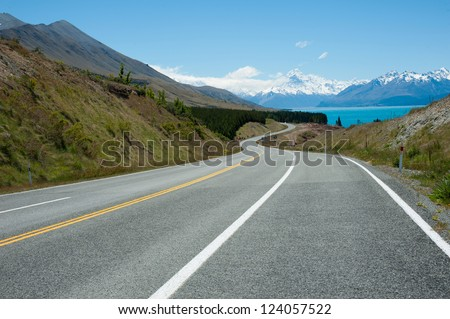Beautiful landscape of road, lake and snow mountain in South Island, New Zealand