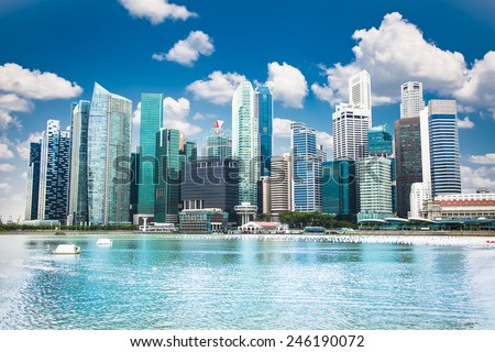 Beautiful landscape of Singapore city in suny day. - stock photo