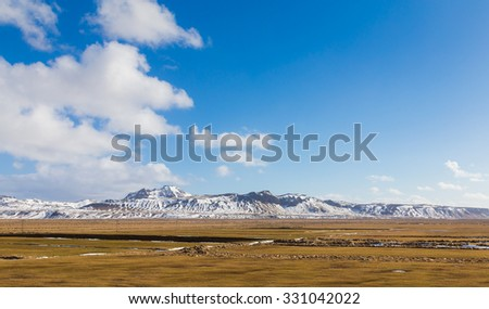 Beautiful Landscape of snowy mountain during late winter, Iceland - stock photo