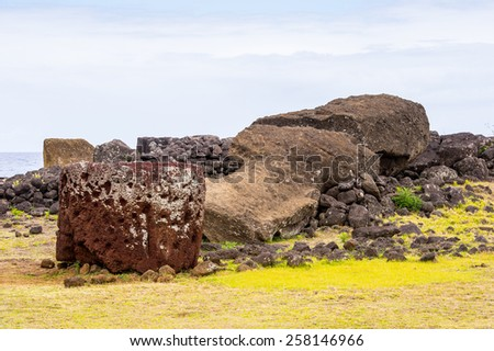 Beautiful landscape of the Easter Island - stock photo