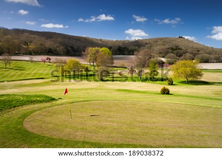 Beautiful landscape of the golf course in Uk. - stock photo