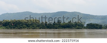 Beautiful landscape of the Mekong river in Asia - stock photo