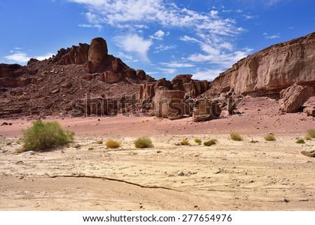 Beautiful landscape of the Negev desert, Timna park, Israel - stock photo