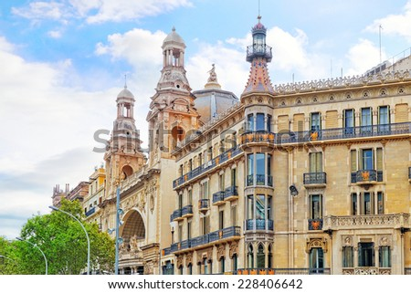 Beautiful landscape of the urban view Barcelona, Catalonia, Spain. - stock photo
