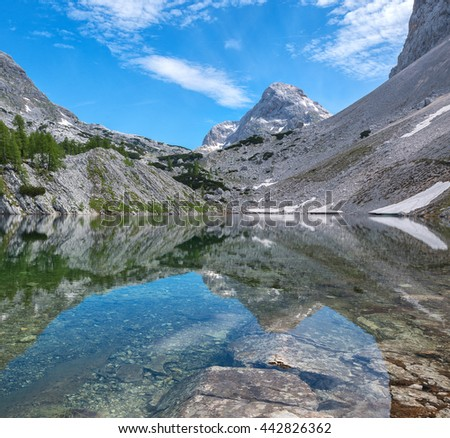 Beautiful landscape of the valley of the seven lakes in Julian Alps - stock photo