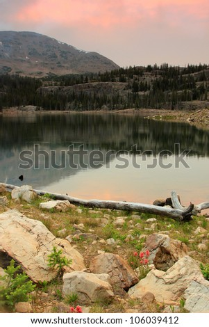 Beautiful landscape of Wall Lake in the Uinta mountains of Utah. - stock photo