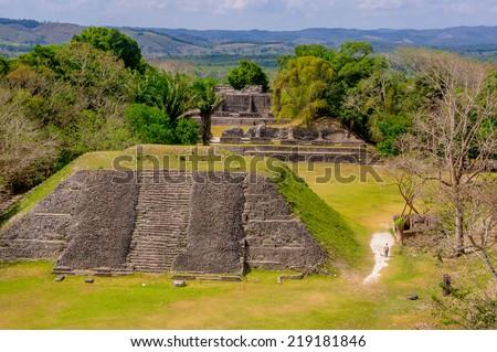 beautiful landscape of xunantunich maya site ruins in belize caribbean - stock photo