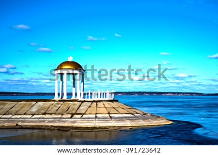 Beautiful landscape. Oil painted post production. - stock photo