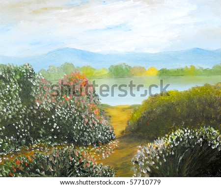 Beautiful Landscape original oil painting on canvas - stock photo