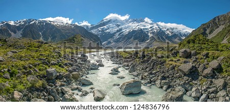Beautiful landscape panorama view of Mt.cook, south island, New Zealand. - stock photo