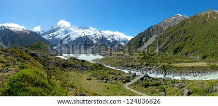 Beautiful landscape panorama view of Mt.cook, south island, New Zealand - stock photo