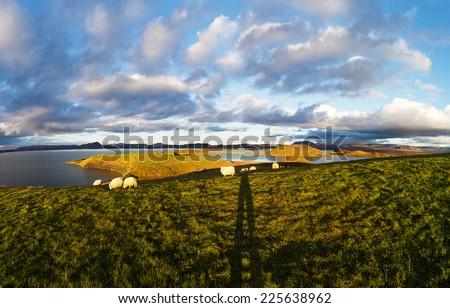 Beautiful landscape panorama with famous icelandic lake region Myvatn - stock photo