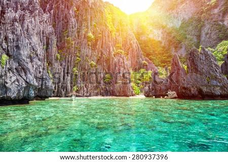 Beautiful landscape scenery in El Nido, Philippines - stock photo
