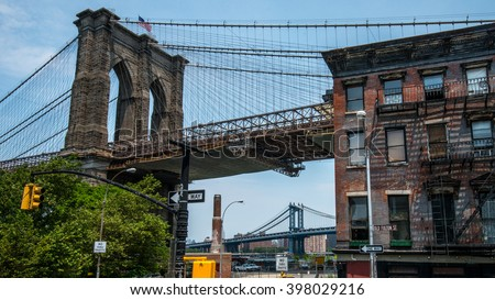 Beautiful Landscape view of Brooklyn Bridge in New York City