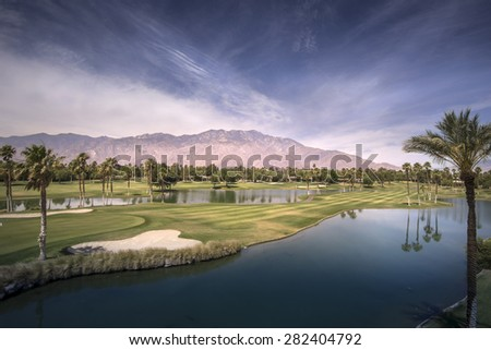 Beautiful landscape view of Palm Springs and Chino Canyon on a hot summer day. - stock photo
