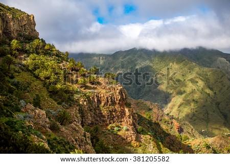 Beautiful landscape view on green mountains near Garajonay park on La Gomera island in Spain - stock photo