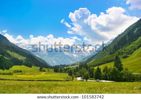 Beautiful landscape with Alps in Nationalpark Hohe Tauern, Salzburger Land, Austria - stock photo
