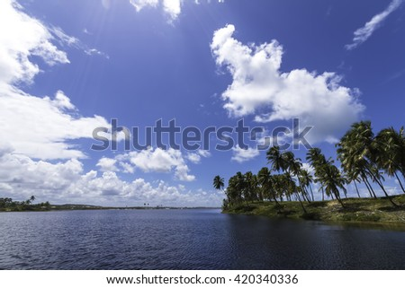 beautiful landscape with coconut trees by the lake and the sea in Costa do Sauipe tropical paradise in Bahia Brazil - stock photo
